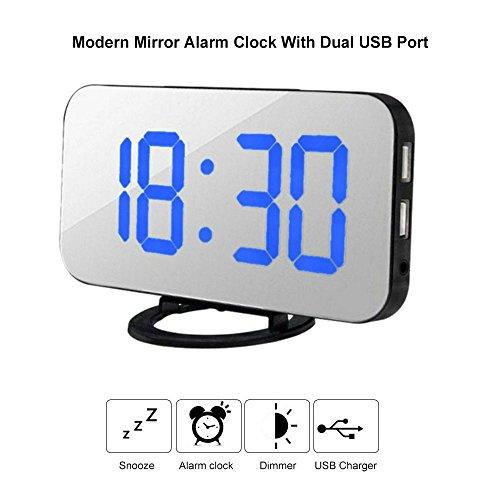 LED Digital Alarma Despertador,zeerkeer Despertador Digital con Función Snooze,Brillo de 3 Niveles y Modo Nocturno Despertador,Doble USB Cargador para iphone Android Teléfono Movil (Silver, Palabra azul)