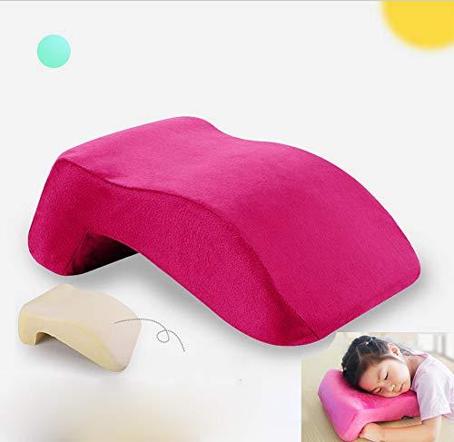 AMhuui Unterstützende Reisekissen bequem, Nap Schlaf Gesicht Kissen, Memory Foam Kissen Schreibtisch Nap Kissen für Face Down Schlaf und zurück,Pink -