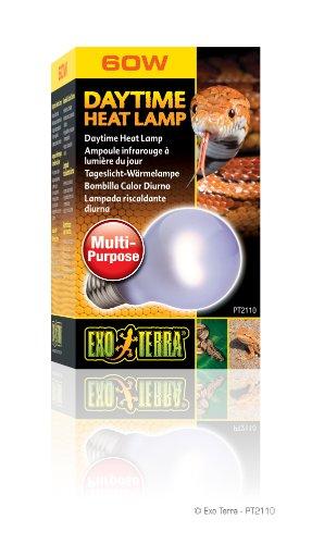 Exo Terra PT2110 Daytime Heat Lamp -Breitspektrum-Tageslichtlampe für Terrarien A19/60W