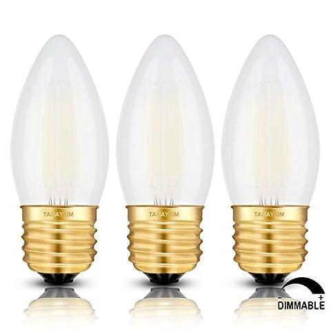 TAMAYKIM C35 6W Dimmbar Glühfaden LED Kerze Lampe, 5000K Tageslichtweiß 600 Lumen, 60W Entspricht Glühlampe, E27 Fassung, Torpedo Form, Matt Glas, 360° Abstrahlwinkel, 3er-Pack
