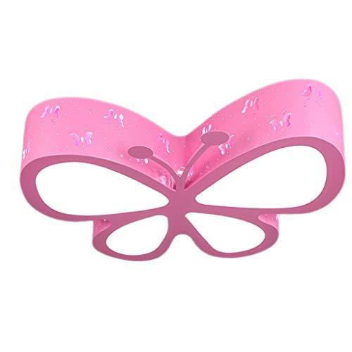 Kreative Deckenleuchte für Kinderzimmer Schlafzimmer LED Schmetterling Kindergarten Mädchen Rosa Prinzessin Raumbeleuchtung, 24 W (Color : Pink warm light-10 * 60cm) -