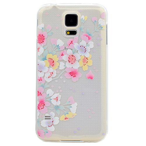 Pour Samsung Galaxy S5 Case Cover, Ecoway TPU Clear Soft Silicone Back Dream Rose Housse en silicone Housse de protection Housse pour téléphone portable pour Samsung Galaxy S5 - fleurs de cerisier