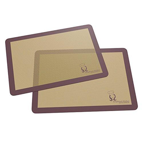 Backmatten aus Silikon (2 Stück), Antihaft-Backblech-Einlage (28 x 38 cm) / wiederverwendbare, flexible, nicht haftende, leicht zu reinigende Backblech-Einlage / gesunde Kochmatte / Premium Backformen von Seraphina's Kitchen aus Großbritannien, Silikon, violett, 2 Pack | 38 x 28cm