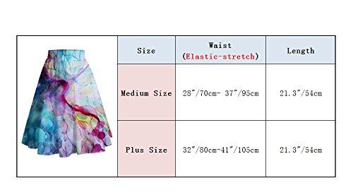 Leapparel A-linien Elegant Bunter Chiffon Midi Faltenrock für Damen mit Bohemian Floral Printed Elastische Hoher Taille Knielang Röck Stil 2