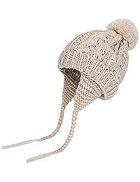 K-youth Chic Caliente Sombreros Bebé Invierno Gorras Bebé Recién Nacido  Sombrero de Punto Niña Gorro de Punto Pelota de Felpa el… 5e51d1e3361