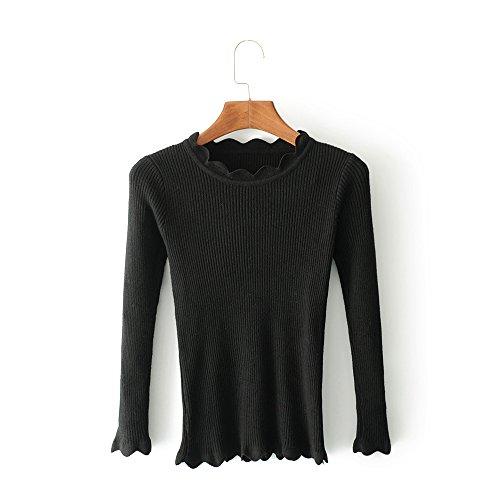 QIN&X Décontracté femmes Regroupement Top Pull laine mélangée cardigans pulls Black