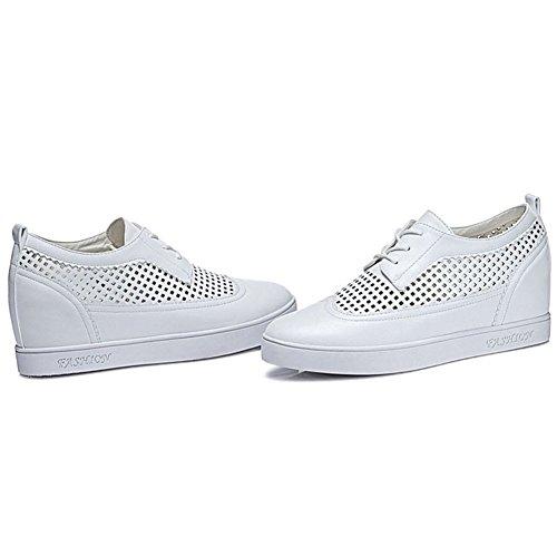Damen Runde Zehen Hohl Metallfarbe Atmungsaktive Oberflächenmaterial Dicke Boden Plateau Lässige Schuhe Schnürer Sneaker Halbschuhe Weiß