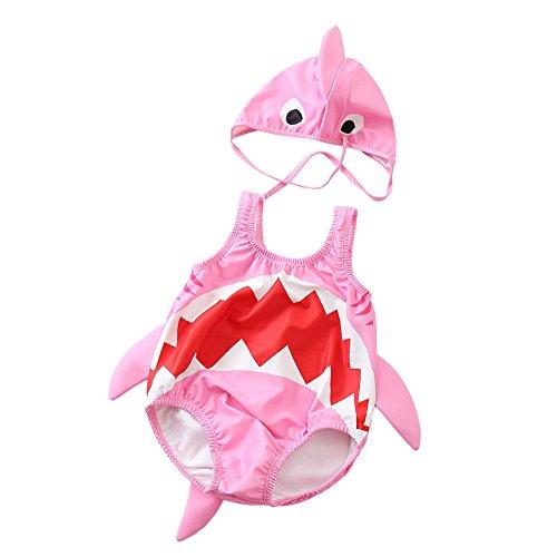 Der Welt Stämme Kostüm - Badeanzüge für Mädchen Baby scherzt nette Haifisch-Muster einteilige Badebekleidung mit Hut-Karton-Badeanzug-Schwimmen-Kostüm-Overall 1-3 Jahre Strand Badeanzug ( Farbe : Rosa , Größe : XXL(85-95cm) )