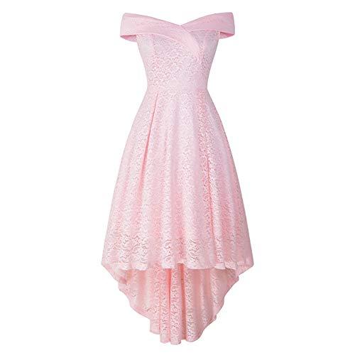 XHTW&B Damen Rock Spitze Kleider Flexibel Brautjungfer BüHne KostüMe Elegant Party Tanzen Wettbewerb Kleid,pink,M