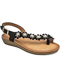 tresmode Women's Black Flat Sandals with Floral Embellishment