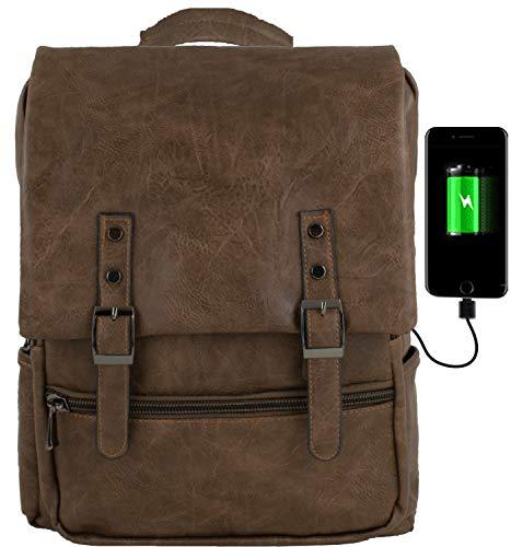 GiDan zaino Uomo Pelle pu Marrone Vintage Impermeabile USB Porta PC per Computer Portatile 13-15 Pollici, Laptop,Tablet,Multifunzione, Scuola, Università, aereo, leggero, morbido (Pelle)