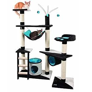 """Arbre à chat design xXL 150 x 70 cm avec 3 troncs hamac tube de 3 balles arbre à chat avec niche et rayures.-arbre à chat-bleu/marron/blanc/turquoise/noir/beige chat griffoir l'escalade jouer, se reposer """"éducation jouets lavable"""