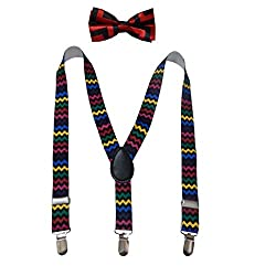 Navaksha Multicolor Y-Back Zig-zag Design Adjustable Kids Suspender with Matching Bow Tie