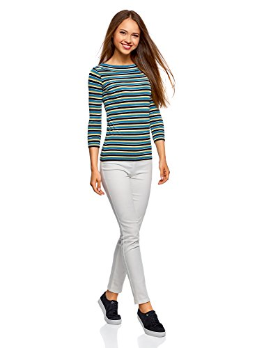 oodji Collection Damen T-Shirt mit 3/4-Arm Mehrfarbig (746BS)
