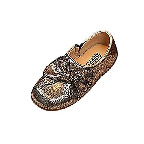 Bling Leder Prinzessin Schuhe Kleinkind Kinder, DoraMe Baby Mädchen 2018 Neue Bowknot Solide Tanzschuhe Reißverschluss Einzelne Schuhe für 3.5-6 Jahr (Age:5-5.5J/EU:28, Gold) Neue Jordans Für Kinder