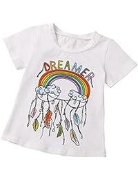 ropa bebé,Switchali Infantil Recién nacido Bebé Niña Manga corta Arco iris Impresión camiseta moda linda algodón Ropa para Niño Chico blusa verano nuevo 2017 barato gran venta