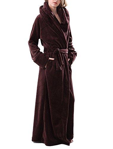 Bel Avril Peignoir plus longue de luxe ultra-douce en polaire Automne/Hiver pour femme/homme Brun