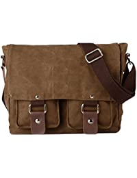 Tekon British Style Retro Mens Canvas Leather Messenger Traval Shoulder Travel Hiking Camping Bag Coffee