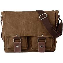 Tekon - Bolso de mensajero para hombre, lona y piel, diseño retro, estilo inglés, para viaje, senderismo o acampada, café (marrón) - TKAB022-1001CF