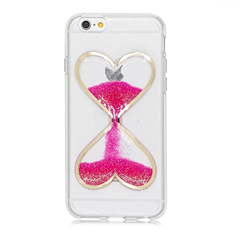 "SKYXD Coque Pour Iphone 6/6S PLUS 5.5"" 3D Motif Bling Glitter Fluide Liquide Sparkles Sables Mouvants Paillettes Flowing Brillante Étui Strass Ultra Mince Transparente Crystal Clair Souple TPU Silicon Rouge Rose"