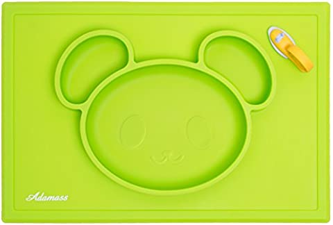 Platzdeckchen & Teller aus Silikon 2in1 - Smart Bear, Türstopper eingeschlossen / Anti-Rutsch- Essen trennende Platte für Baby, Kleinkinder und Kinder/ 3-Sektion Essenplatte und Platzmatte in verschiedenen Farben von Adamass (Smart Bear, Grün)