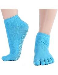 Leisial Calcetines de Yoga con Algodón Puro Calcetines de Cinco Dedos Color Sólido Antideslizante Calcetines del Piso para Mujeres