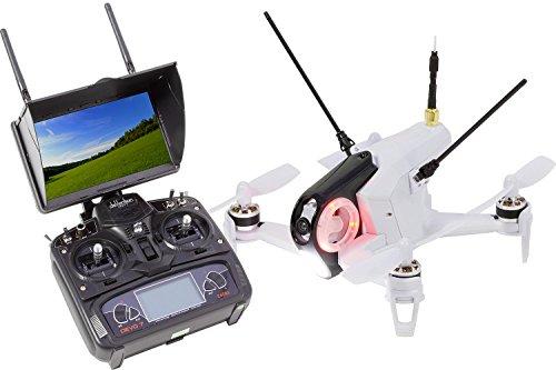 Walkera FPV 15004460QuadroCopter de Racing Rodeo 150Drone RTF avec caméra HD, moniteur, batterie, chargeur et Devo 7Télécommande, blanc