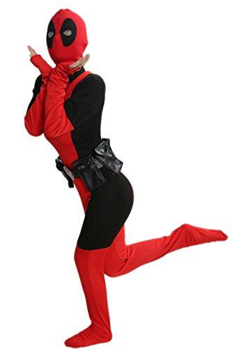 Nexthops Lady Deadpool Kostüm Cosplay Jumpsuit Deluxe Costume Film Zubehör für Fasching und Karneval (Lady Deadpool Kostüm)