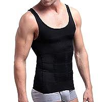 قمصان ضاغطة للرجال من أبتوكو، سترة مضغوطة، سترة لتنسيق شكل الجسم، سترة تخسيس الجسم، بدون أكمام عند البطن أسود Medium