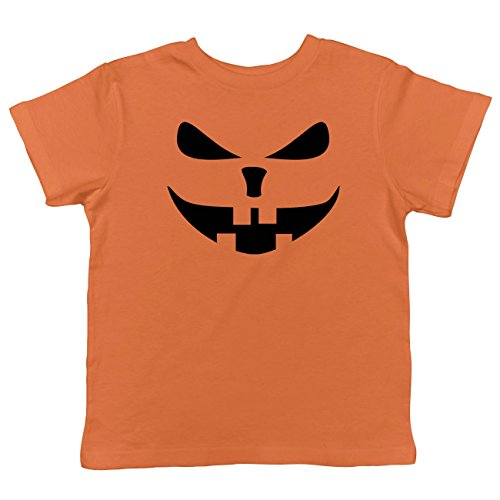 Crazy Dog Tshirts - Toddler Buck Teeth Pumpkin Face Funny Fall Halloween Spooky T Shirt (Orange) - 2T - Baby-Jungen - 2T