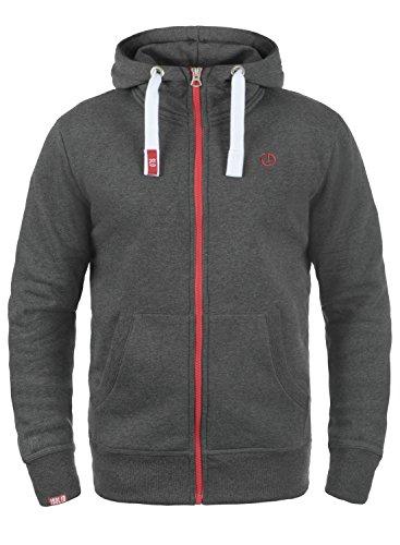 !Solid Benn High-Neck Herren Sweatjacke Kapuzenjacke Hoodie Mit Kapuze Reißverschluss Und Fleece-Innenseite, Größe:M, Farbe:Med Grey (8254)