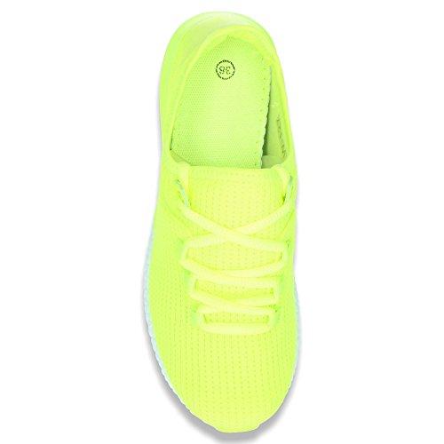 Damen Sneaker Sportschuhe Lauf Freizeit Fitness Low Schuhe Neongelb