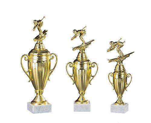 RaRu 3er-Serie Skifahrer-Pokale (Abfahrt, Slalom Oder Langlauf) mit Wunschgravur und 3 Skifahrer-Anstecknadeln (Sticker) (mit Langlauf-Figuren)
