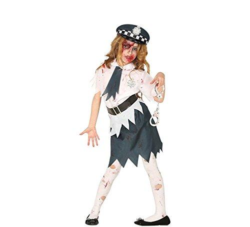 Guirca Kostüm Zombie Polizei für Mädchen 5/6 Jahre, Farbe Weiß und Blau, 87703 (Polizei Zombie Kostüm)