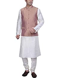KISAH Men's White Cotton Silk kurta and Churidar with Beige Cotton Silk Nehru Jacket