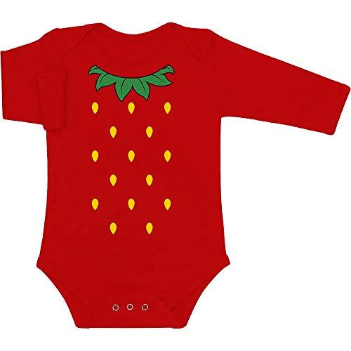 (Süße Kostüm Idee für Baby Kleine Erdbeere Baby Langarm Body 62/68 (3-6M) Rot)