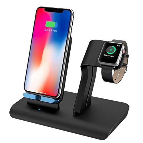 Apple Watch Stand SHUNXIN Support de Chargeur de Bureau universel Chargeur Induction Sans Fil Station de charge 2 en 1 pour iPhone X XS Max 8 8 Plus Samsung iWatch Qi Appareils Wireless Stand