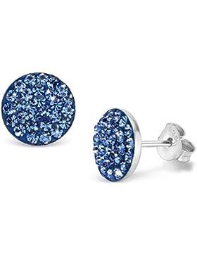 SILV Kristall Ohrstecker blau flach Ø9mm - 925 Silber Ohrringe Damen Stecker rund mit 56 Kristall-Steinen #SV-...