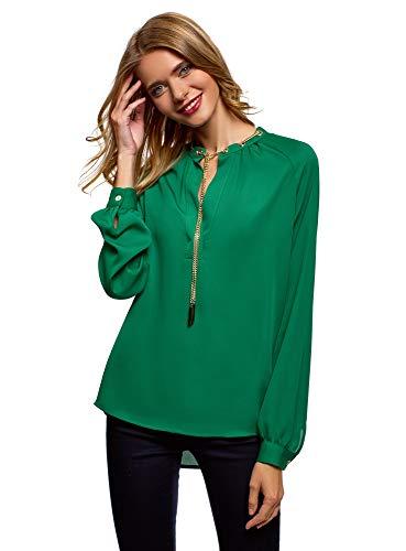 oodji Collection Damen Bluse aus Fließendem Stoff mit Metall-Verzierung, Grün, DE 42 / EU 44 / XL