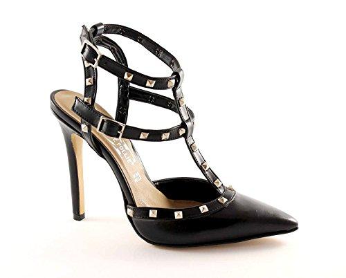 DIVINE FOLLIE 75 nero sandali donna borchie punta chiusa tacco 40