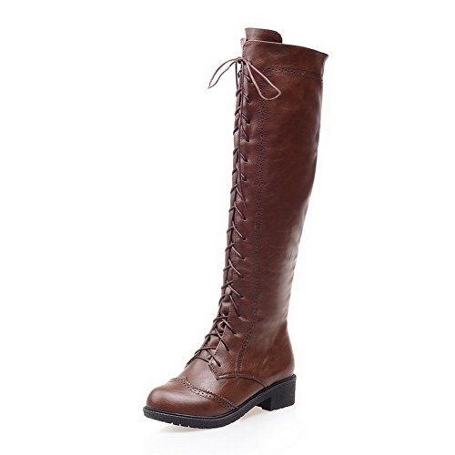 VogueZone009 Damen Niedriger Absatz Blend-Materialien Knie Hohe Stiefel, Braun, 35