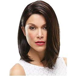 Fleurapance - Peluca de mujer supernatural y corta, de longitud media, negra y marrón, de estilo Bob - pelo sintético, resistente al calor y al calor