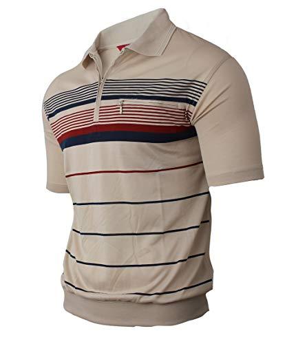 Humy Herren Kurzarm Gestreifte Polo Shirts, Kragen Polohemd, Modischen Blousonshirts mit Reißverschluss Brusttaschen (M bis 3XL) (3XL, [D] Beige Evo) - Evo-kollektion