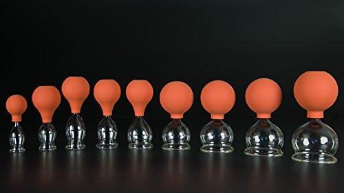 9 Kit de ventouses en verre avec balle 20–25–30–35–40–45–50–55–60 mm pour professionnels, médical, feuerlosen soufflé, handgeformt, ventouses en verre, ventouses en verre, Verre Lauschaer l'original