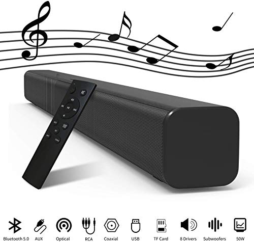 Soundbar Lautsprecher für TV, 81.2cm Bluetooth 5.0 Speaker mit 8 Treibers (Inkl: 2 Subwoofers), 50Watts kabelgebundenes und kabelloses 3D Surround Stereo Heimkino Soundbox mit Optical/Aux/RCA/TF/Koax