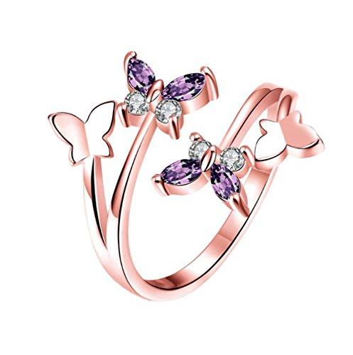 Gespout Anelli da Donna alla Moda Oro Rosa Asietrico Farfalla Animale Diamante Strass Anello Regolabile Apribile Fit Ragazza Feinile