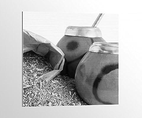 Alu-Dibond schwarz weiß Tee Mate Blätter Diät Gesundheit Küche Bild auf Aluminium AluDibond UV Druck gebürstet Wandbild Metall Effekt 16A1570, Alu-Dibond 1:100x100cm