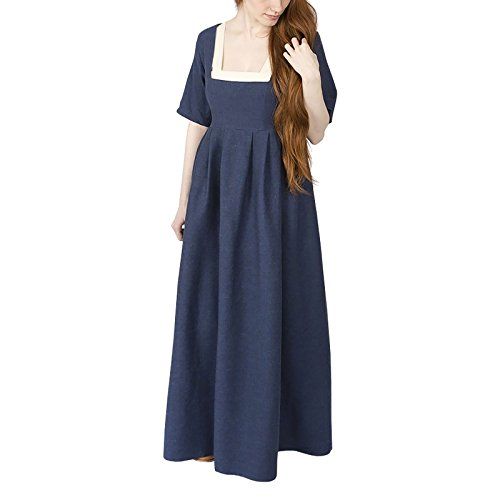 alter Kleid Frideswinde 100% Baumwolle blau (S) ()