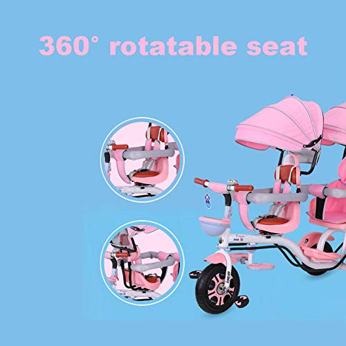 CHEERALL Double Children's Tricycle 4 in 1 Trike, Twin Stroller Comfort Two-Seat 3 Wheel Bicycle for Kids with Rotatable Seat, Baby Infant Child Trolley for Age from 6 Months to 6 Years,C