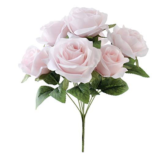 Blumen 7 Köpfe Rose Bouquet für Home Wedding Party Decor (Pink) ()